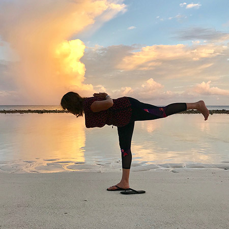 An empowering pose that entails a high level of focus and concentration. The pose strengthens the legs, thighs, calves, back, abdomen and core, and improves concentration and focus. This is a challenging pose that empowers us and connects us to our inner strength, allowing us to overcome hardships and challenges that come our way.