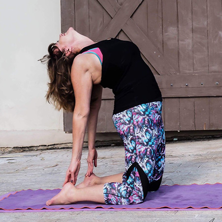 A pose that strengthens and stretches the ankles, shoulders, back, throat and improves posture. The pose opens the chest and heart, thereby facilitating improved breathing. Energetically, the pose enables us to open ourselves and our heart to new possibilities and wonderful new opportunities that come our way.